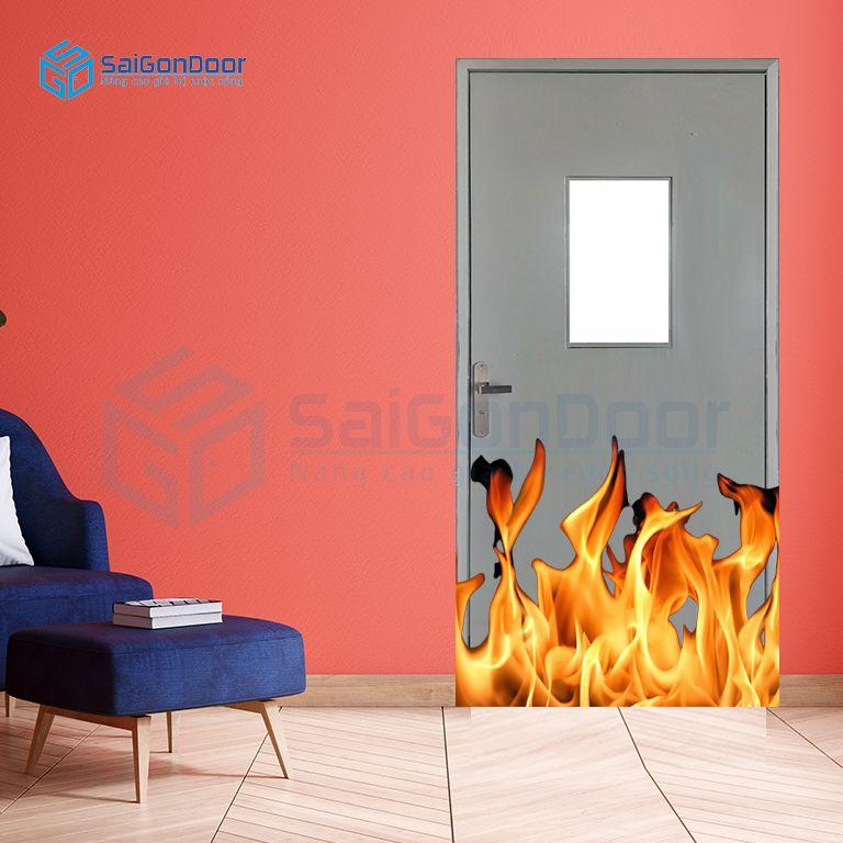 Cửa chống cháy thoát hiểm có ô kính chống cháy