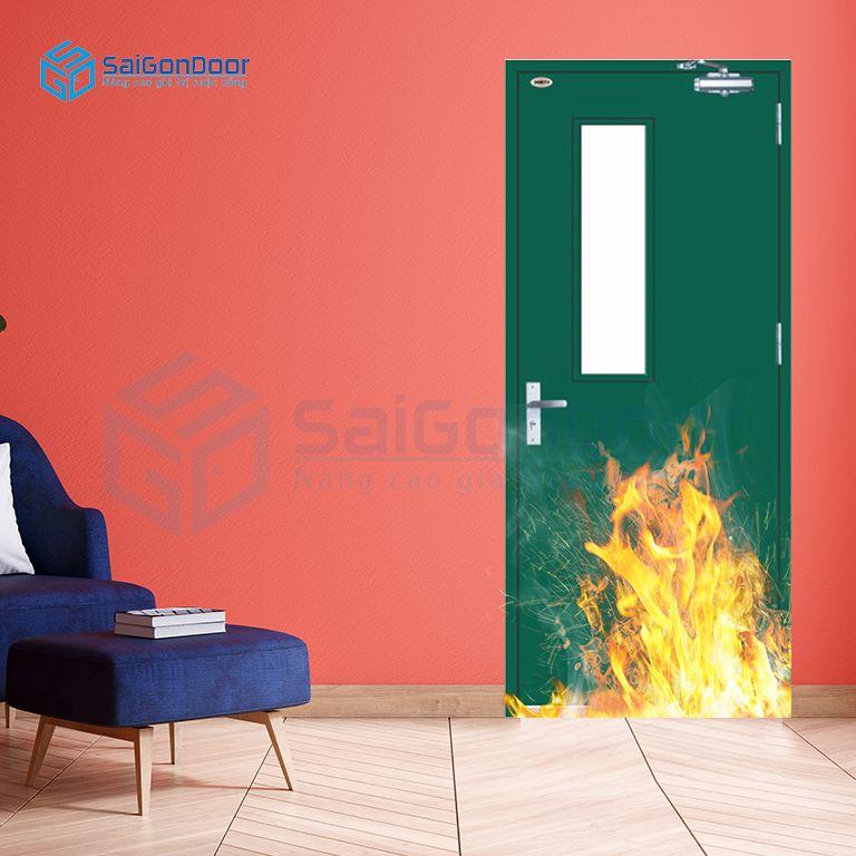 Cửa thoát hiểm kết hợp ô kính ngăn cháy dùng tay đẩy hơi